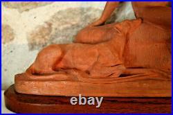 XXe Statue Art Déco Diane chasseresse Ary BITTER Terre cuite & socle en bois FR